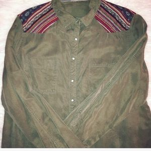 Vintage Army Green Button Down Shirt